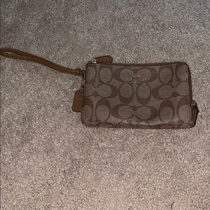Coach double zipper wristlet. Never used!